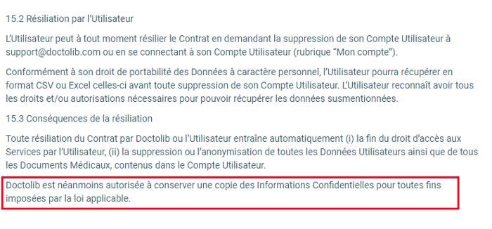 Supprimer un compte Doctolib : Conditions d'utilisation