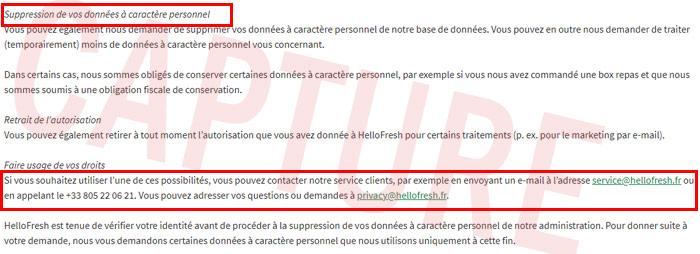 Supprimer un compte Hellofresh France