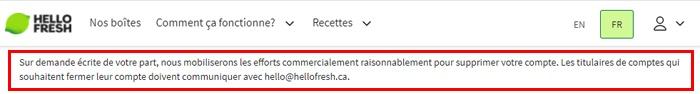 Supprimer un compte Hellofresh Canada