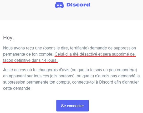 Délai de suppression d'un compte Discord