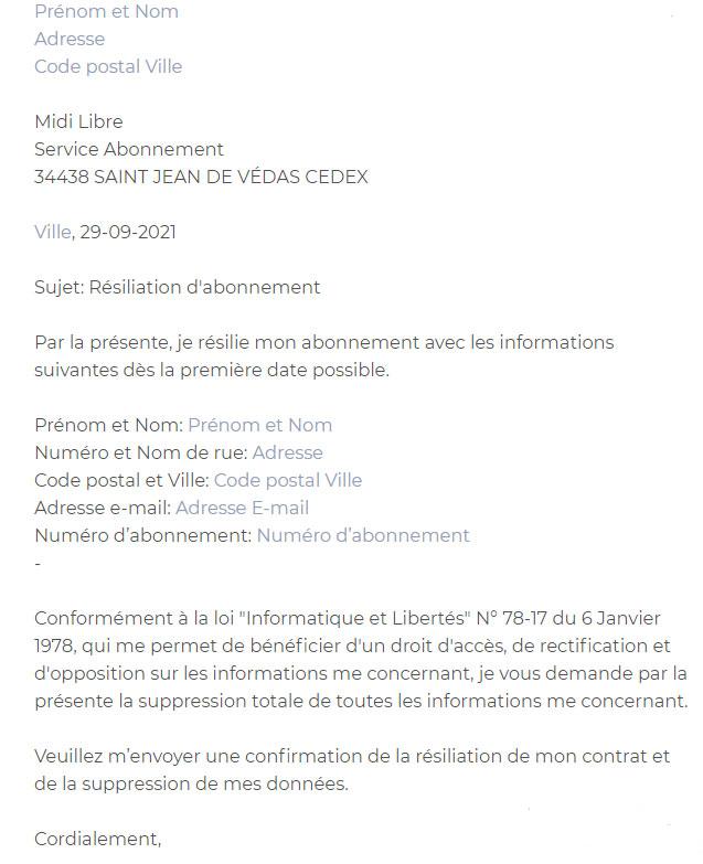 lettre résiliation Midi libre